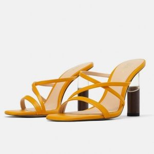 Zara Mule with Contrast Round Clear & Wood Heel
